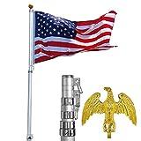 25 Feet Telescopic Aluminum Flag Pole Eagle Top and 3'x5' Us Flag & Ball Top Kit Telescoping Flagpole Set