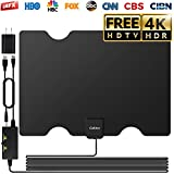 HDTV Antenna Indoor, Cubitee Amplifier Signal Amplified Booster for 65-80 Miles Range Indoor 16.4ft Coax Cable HDTV Antennas High Definition 1080P 4K Free Full 360° Reception with USB Power Adapter