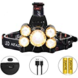 Rechargeable LED headlamp, Zukvye Super Bright 5 LED 8000 Lumen Zoomable Waterproof CREE Headlamps Flashlight for Cycling, Running, Dog Walking, Camping, Hiking, Fishing, Night Reading and DIY Works