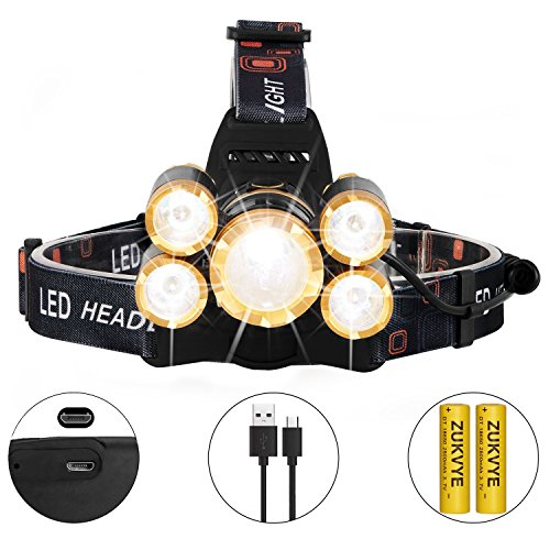 Rechargeable LED headlamp, Zukvye Super Bright 5 LED 8000 Lumen Zoomable Waterproof CREE Headlamps Flashlight for Cycling, Running, Dog Walking, Camping, Hiking, Fishing, Night Reading and DIY - Dogs Good Running