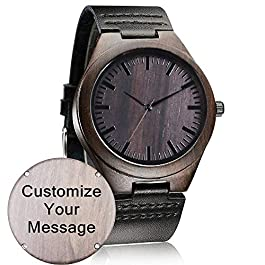 Customized Engraved Wooden Watch, Casual Handmade Wood Watch for Men Women Family Friends Customized Gift
