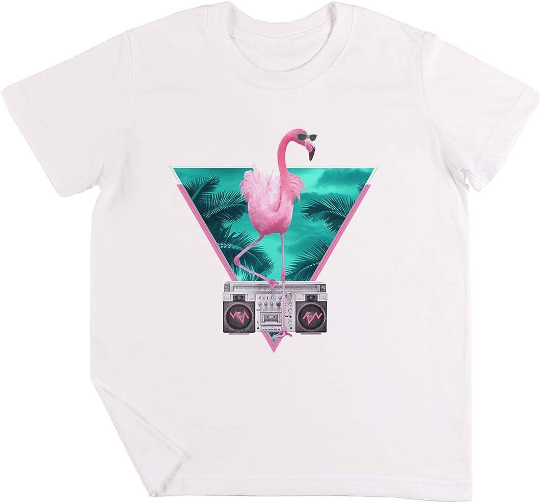 Miami Flamenco Niños Chicos Chicas Unisexo Camiseta Blanco: Amazon.es: Ropa y accesorios