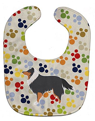(Caroline's Treasures Pawprints Baby Bib, Sheltie/Shetland Sheepdog, Large)