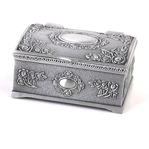 Coffret Boîte à Bijoux Vintage Forme de Coffre au Trésor d'Argent Antique