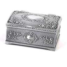 Vintage Treasure Chests Shape Jewelry Ring Box Case Antique Silver