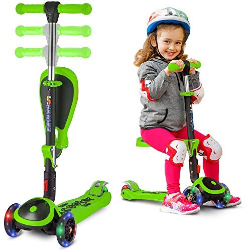 SKIDEE Scooter for Kids with Folding Seat - 2-in-1 Adjustable 3 Wheel Kick Scooter for Toddlers Girls & Boys - Fun Outdoor Toys for Kids Fitness, Outside Games, Kid Activities - Y200 (Green, Scooter)