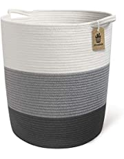 """INDRESSME Extra Large Cotton Rope Basket - Woven Baskets Laundry Basket for Blankets Toys Storage Basket Cotton Thread Nursery Storage Bins Home Storage Containers, 18.8"""" x 17.7"""" x 13.8"""""""