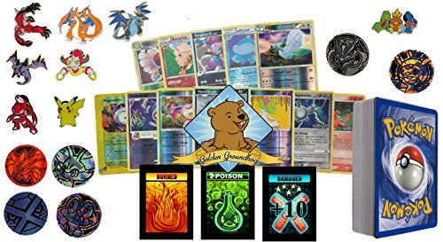 Card Pack Lot No Duplication With Foils, Rares, Random Pokemon Pin, Coin, and Storage Box or Tin Includes Custom Golden Groundhog Box ()