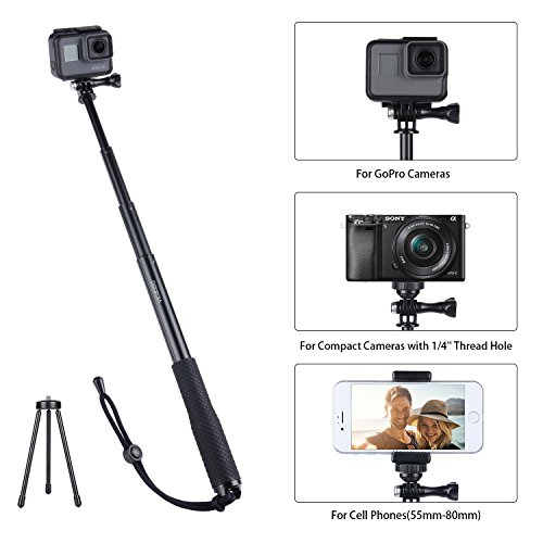 Vicdozia Selfie Stick, 37.5'' Waterproof Extendable Monopod with Mini Tripod Stand for GoPro Hero 6/5/4/3+/3/2/1/Session Cameras, AKASO SJCAM Xiaomi Yi, Compact Cameras and Smartphones