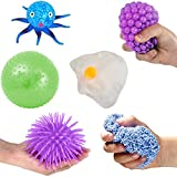 6 Piece Sensory Processing Tools and Squishy Stress Relief Balls Variety Pack for Kids and Adults