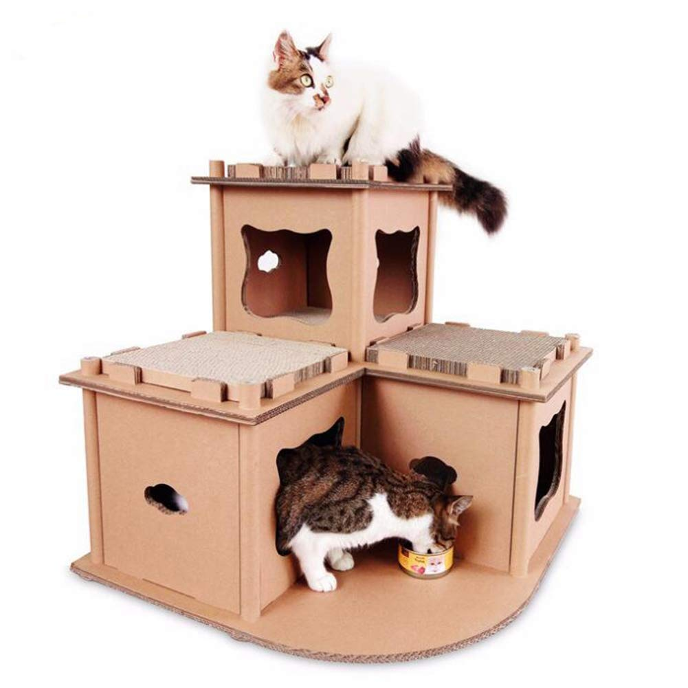 Corrugated Paper Cat Cardboard Corner 2Nd Floor Cat Tree House Cat House House Claws Toy Cat Climbing Frame