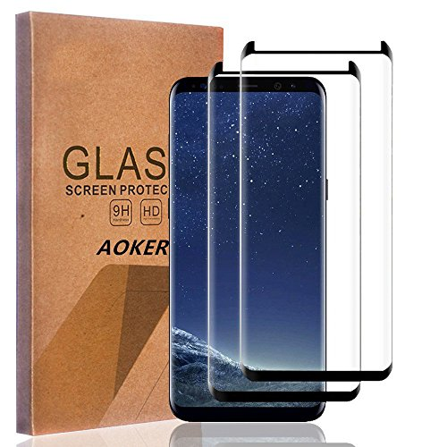 AOKER for Galaxy S9 Plus S9+ Screen Protector, [2Pack] [3D Curved FULL COVERAGE] [Anti-Scratch] 9H Hardness Ultra Slim HD Clear Premium Tempered Glass for Samsung Galaxy S9 Plus 2018 released (2Pack)