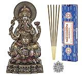 Ganesh Statue - Altar Supply Kit - 6.2 inch (H) Cold Cast Bronze Statue Ganpati Lord of Success ~ 100 Gram Satya Sai Baba Nag Champa Incense Sticks Pack and Lotus Sri Yantra Ornament