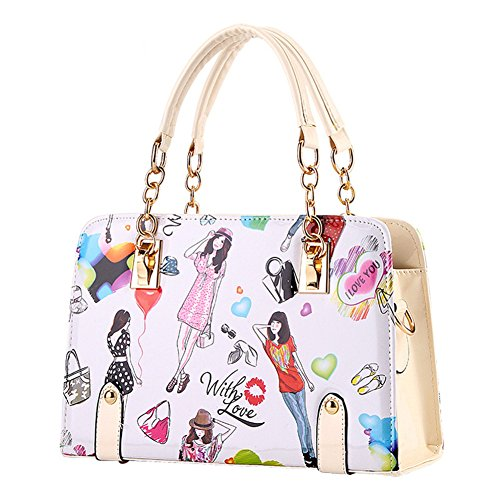 Hobos Totes Trapeze Shoulder FTSUCQ Leather Womens Fashion Printing Bags Beige Handbags Saddle Zpz16Tqz