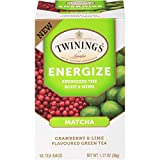 Twinings of London Daily Wellness Tea, Energize Body & Mind Matcha with Cranberry & Lime Green, Flavored Green Tea, 18 Count (Pack of 6) For Sale