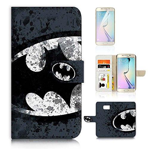 ( For Samsung S7 Edge , Galaxy S7 Edge ) Flip Wallet Case Cover & Screen Protector Bundle - A8183 Batman