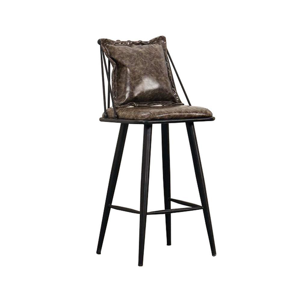 カウンターチェア バースツール背の高い椅子工業用ビンテージスタイルパブキッチンカフェ枕 B07RX9H8GJ