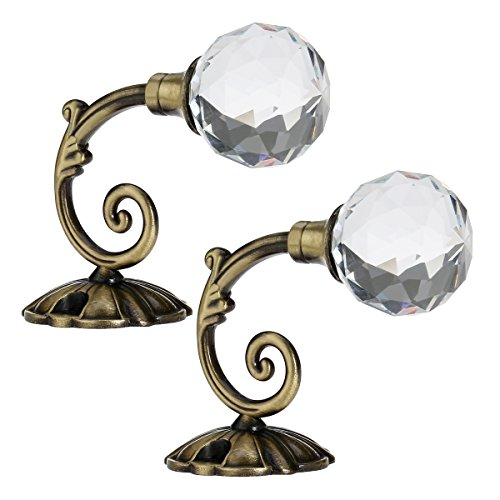 Brass Holdbacks (WINOMO Pair of Vintage Crystal Ball Holdbacks Curtain Clothes Hook (Antique Brass))
