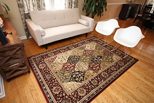 Feraghan/New City Traditional Panel Red Wool Persian Area Rug, 8' x 10', Burgundy
