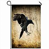 """Ahawoso Outdoor Garden Flags 12""""x18"""" Inch Moonlight Angry Landing Black Raven Corvus Corax"""