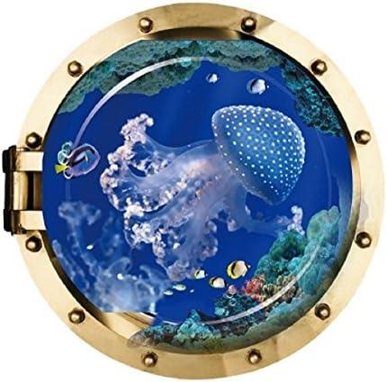 nozama ウォールステッカー 3D 潜水艦の窓 クラゲ 海月 剥がせるシール