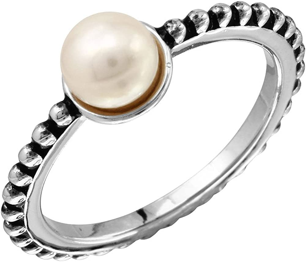 Princess Kylie Synthetic Pearl Designer Band Ring Rhodium Plated Sterling Silver
