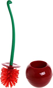 Creative Toilet Brush with Holder Bowl&Long Handle, Household Bathroom Cleaning Tool Cleaner and Base for Storage&Organization, Thick Bristle for Deep Clean-Rust Resistant Leakproof-Red Cherry Shape