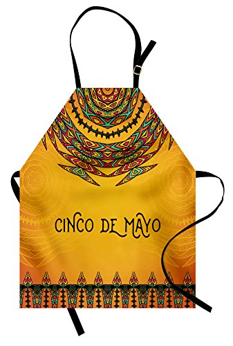 Lunarable Mexican Apron, 5th May Celebration Historical National Aztec Victory Holiday Cinco de Mayo Art, Unisex Kitchen Bib Apron with Adjustable Neck for Cooking Baking Gardening, Orange Red]()