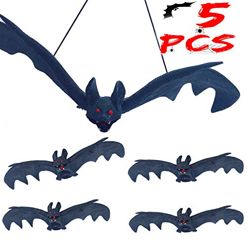 Hanging Bat Decorations Halloween (Halloween Bats Decorations Rubber Hanging Bats Props Halloween Party Favors Realistic Vampire Bats for Haunted House Decoration (9.6 x 3.9in)5)
