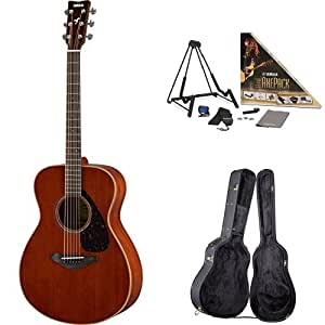 Yamaha FS850 Small Body Acoustic Guitar, Mahogany, with Yamaha Guitar Case and Accessories Pack