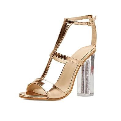 0ecae89de4 Block Heels for Women Jamicy Ladies Summer Fashion Leather High Heel Gold Sandals  Shoes (35