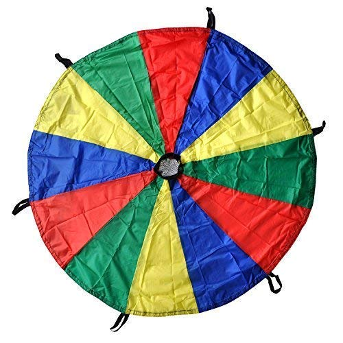 (GSI Kids Play Parachute Rainbow Parachute Toy Tent Game for Children Gymnastic Cooperative Play and Outdoor Playground Activities (6 Feet))