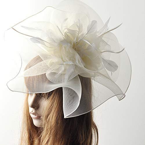 Women Fascinator Hat Feather Mesh Net Veil Party Hat Ascot Hats Flower Derby Hat Blue,White -