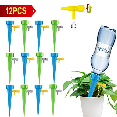 (Plant Self Watering Spikes, Self Watering Spikes System with Slow Release Control Valve Switch,Indoor Outdoor Garden Plants Drip Irrigation Spike System Suitable for 1.2 inch Caliber Plastic Bottle)