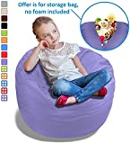 Stuffed Animal Bean Bag Storage Chair in Orchid Purple – 2.5ft Large Fill & Chill Space Saving Toy Organizer for Children – For Blankets, Teddy Bears, Clothes & Bedding
