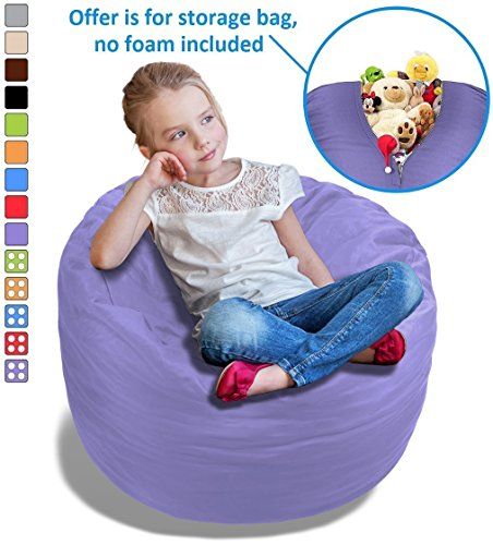 Stuffed Animal Bean Bag Storage Chair in Orchid Purple - 2.5ft Large Fill & Chill Space Saving Toy Organizer for Children - For Blankets, Teddy Bears, Clothes & Bedding by BeanBob