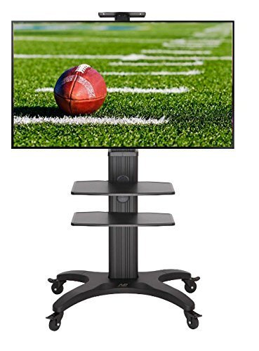 Universal Mobile TV Cart TV Stand with Mount for 32'' - 60 inch Flat Screens LED LCD OLED Plasma Displays up to 80lbs Aluminum Alloy Black AVF1500-50-2P