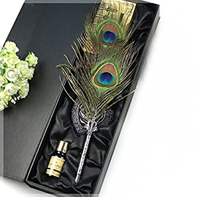 Eltro Europe Style Retro Antique Hand Carved Peacock Feather Pen,Colorful Writing Quill Pen Set,With Ink, Heart-Shaped European Pen Holder And 5 PCS Nib (PEACOCK)