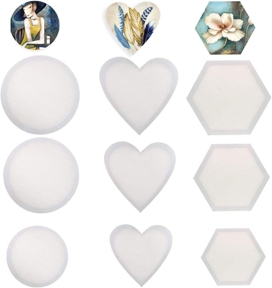 unbedruckt gespannte Leinwand f/ür /Ölfarben ZGoEC Leinwandpaneel f/ür Malerei Acryl- und Gouache-Farben rund//Hexagon//Herz Set mit 9 St/ück 30//25//20cm Kunst /& Handwerk Kunst