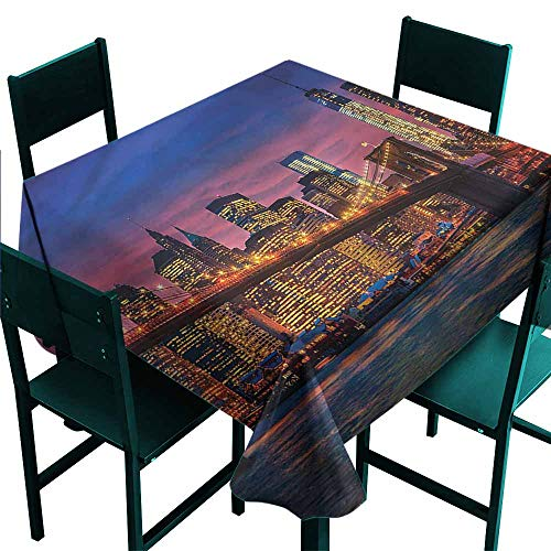 DONEECKL Polyester Tablecloth New York NYC with Neon Great for Buffet Table W60 xL60