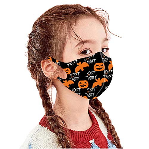 5 Pcs Fashion Halloween Cloth Fabric Facial Bandanas, Unisex Earloop 5 Printed Washable, Reusable (G,5PCS)