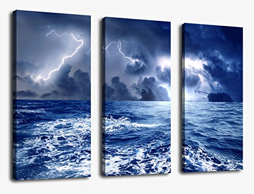 Seascape Painting Pictures Canvas Prints Wall Art Decor 30x42 Inch Framed Ready to Hang - 3 Panel Large Lightning on Sea with Storm Giclee Art Reproduction Print on Canvas for Home Office Decoration