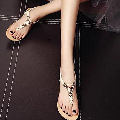 Frauen Sommer flache Schuhe , Kaiki Beaded Bohemia Freizeit Sandalen Peep-Toe Flip Flops Schuhe Beige