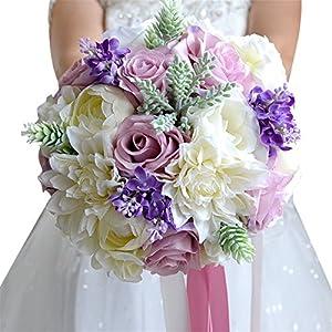 "Wedding Bridal Bouquet, Wedding Bride Bridal Bridesmaid Bouquet, 9"" Artificial Wedding Calla Lavender Flower Purple Rose Wedding Holding Bouquet for Wedding, Church, Party, Home Wedding Flowers Floral 95"