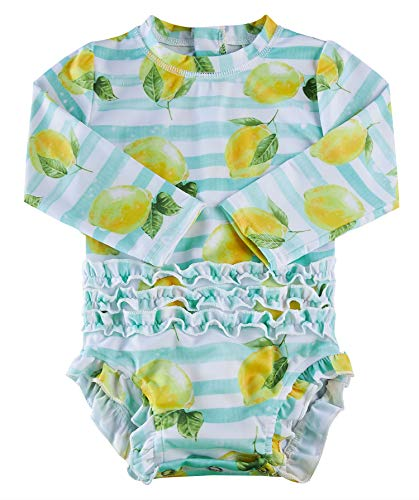 BFUSTYLE Baby Girls Ruffle Swimsuit Hawaiian Rashguard Shirt Toddler Long Sleeve Swimwear with Zipper 2-24M