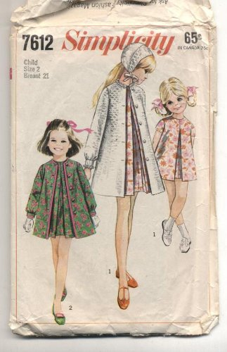 Vintage Simplicity 1968 Childs Dress, Coat or Cape and Cap Sewing Pattern #7612