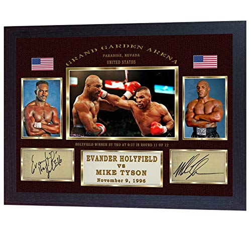 (S&E DESING Mike Tyson Evander Holyfield Boxing Autograph Signed Print Photo Framed)