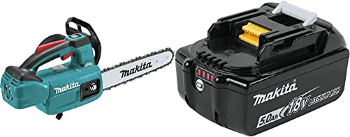 Makita XCU06Z 18 Volt LXT Lithium-Ion Brushless Cordless 10 Inch Top Handle Chain Saw BL1850B 18 Volt LXT Lithium-Ion 5.0Ah Battery