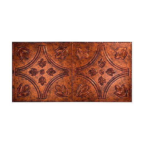 FASÄDE Easy Installation Traditional Style/Pattern #5 Moonstone Copper Glue Up Ceiling Tile/Ceiling Panel (One 2' x 4' Tile)