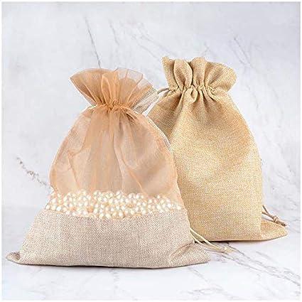 b9e240ff3eab Amazon.com - VU100 Organza Natural Linen Bags with Double Drawstring ...